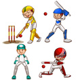 Simple sketches of men playing cricket vector image vector image