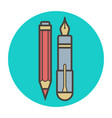 stationery fountain pen and pencil vector image