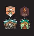 vintage mountain camp badges logos set adventure vector image vector image