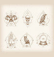 vintage style occultism logos or astrology label vector image