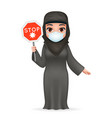 virus stop sign protective medical face mask arab vector image vector image