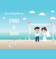 wedding couple on beach invitation card eps10 vector image