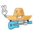 with guitar straw hat in a wooden cartoon vector image