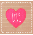 Pink watercolor heart on cardboard vector image