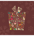 Ornamental Christmas gift box with reindeer vector image