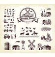 set of happy farm organic production cartoon style