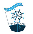 a ship a steering wheel and a flag vector image vector image