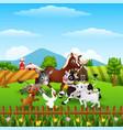 animals farm playing at hills vector image