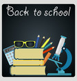 back to school blackboard with school supplies vector image vector image