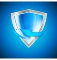 Blue shield with arrow vector image vector image