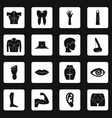 body parts icons set squares vector image vector image