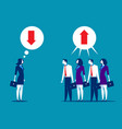 business people disagreeing with upward and vector image vector image