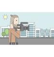 Cameraman with video camera vector image vector image