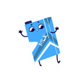 cardboard box with milk cartoon character dancing vector image vector image