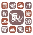 color garbage icons set vector image vector image