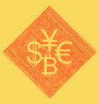 currency sign collection dollar euro bitcoin vector image vector image