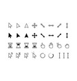 cursor icons classic pointer arrows hourglass vector image