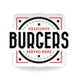 delicious burger stamp vintage vector image
