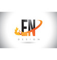 en e n letter logo with fire flames design and vector image vector image