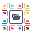 folder flat icons set vector image vector image