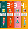 four steps infographics with women and icons vector image vector image