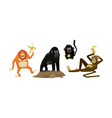 funny monkeys of various breeds animal characters vector image