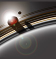 gas giant ring system and its moon interacting vector image vector image
