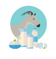 goat icon with milk products dairy set vector image vector image