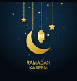 gold glitter lanterns crescent and stars hanging vector image vector image