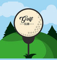golf club ball on tee landscape vector image vector image