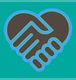 heart handshake icon eps10 vector image vector image