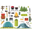 hiking camping equipment campfire base camp vector image vector image
