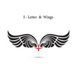 i-letter sign and angel wingsmonogram wing logo vector image vector image