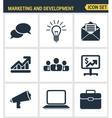 Icons set premium quality of digital marketing vector image vector image