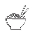 isolated bowl of pasta outline vector image vector image
