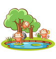 isolated picture monkeys in garden vector image vector image