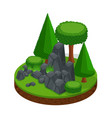 isometric glade with a stone mountain vector image vector image