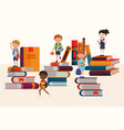 kids reading books and enjoying literature vector image vector image