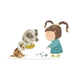 Little girl punishing dogs vector image