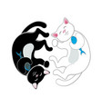 logo with two black and white cats forming circle vector image vector image