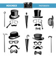 movember retro party printable glasses hats props vector image vector image