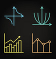 neon math science icons set in line style vector image