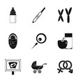 parturition icons set simple style vector image
