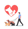 pets rescue and protection concept male character vector image vector image