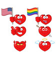 red heart cartoon emoji facecollection - 3 vector image