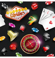 seamless casino pattern with gambling elements vector image