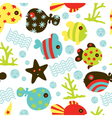 seamless fish pattern vector image