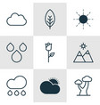 set of 9 nature icons includes love flower oak vector image vector image