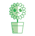 silhouette kawaii beauty and angry flower plant vector image