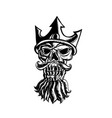 skull of neptune sratchboard vector image vector image